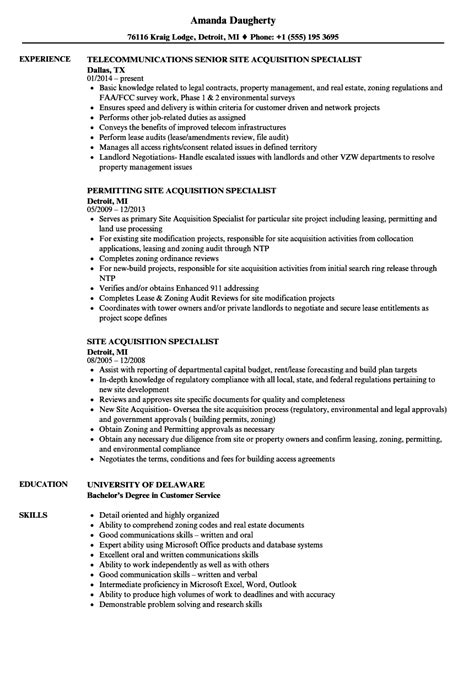 Resume Site by Site Acquisition Specialist Resume Sles Velvet