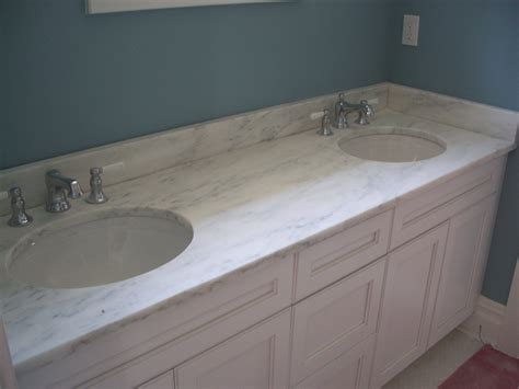 White Marble Vanity Top With Double Sinks As Well Inch