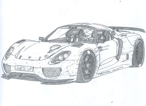 drawn car porsche pencil   color drawn car porsche