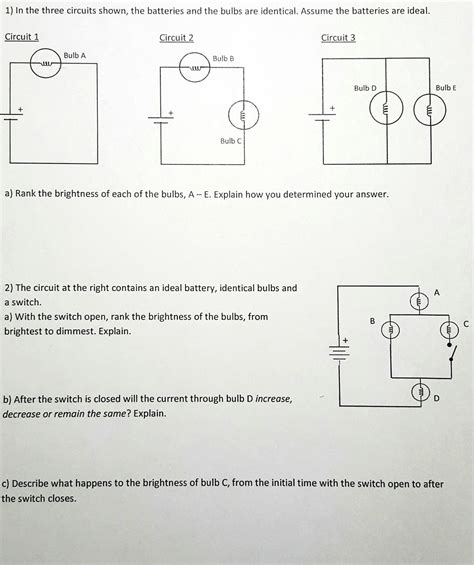 in the three circuits shown the batteries and the