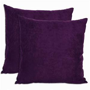 Purple Microsuede Feather and Down Filled Throw Pillows
