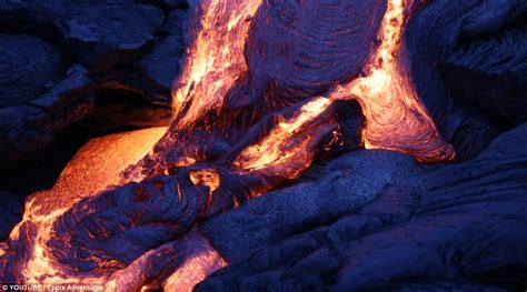how is lava formed hawaii kilauea volcano spews out blue lava daily mail online