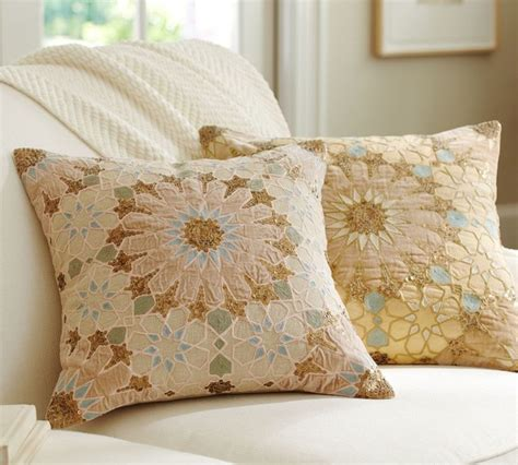 Pottery Barn Throw Pillows by Sofia Tile Sequined Embroidered Pillow Cover Traditional