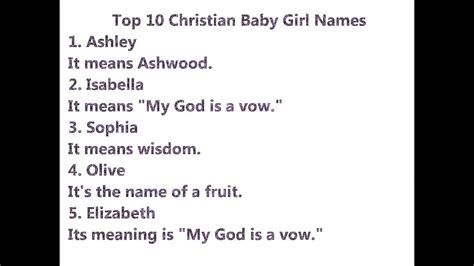 top  christian baby girl names youtube