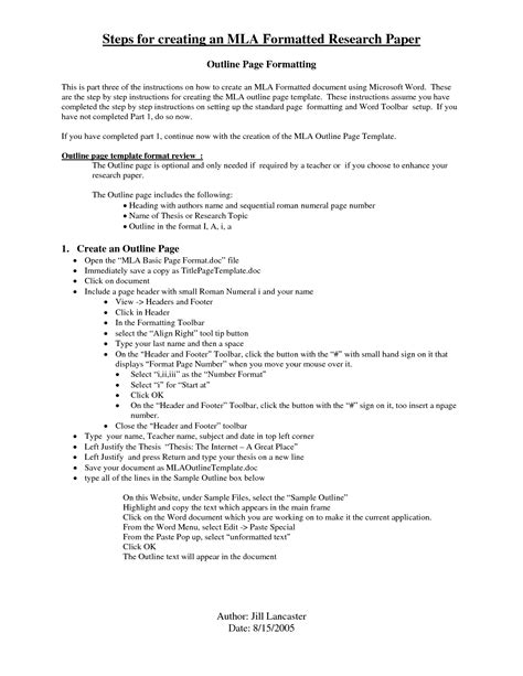 Mla Outline Template Best Photos Of Mla College Research Paper Outline Mla