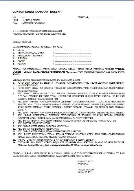 Contoh Surat Lamaran Cpns Dosen dokumen pekerjaan contoh surat lamaran kerja dosen