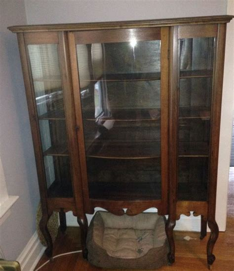 curved glass curio cabinet value large antique curio cabinet 6 legs beautiful wood curved