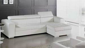 Canapé D Angle Cuir Blanc : photos canap d 39 angle cuir blanc conforama ~ Melissatoandfro.com Idées de Décoration