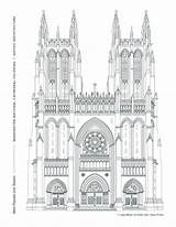 Gothic Architecture Cathedral Coloring Pages Window West Western Towers Facade Washington National Prominent Tradition Honors Arches Pointed Grand Rose Week sketch template