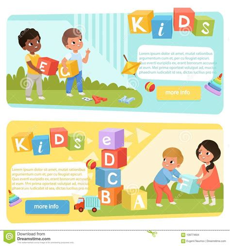 two banners with preschool with colored abc cubes 294 | two banners preschool kids colored abc cubes speech therapy concept playful learning design child development center 108774604