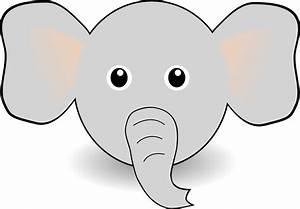 Clipart - Funny Elephant Face Cartoon