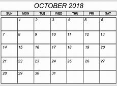 October Calendar 2018 Monthly – Printable Calendar