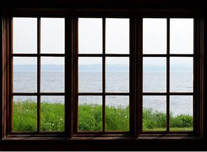 Window Through Sunny Sea Windows Brown Garden