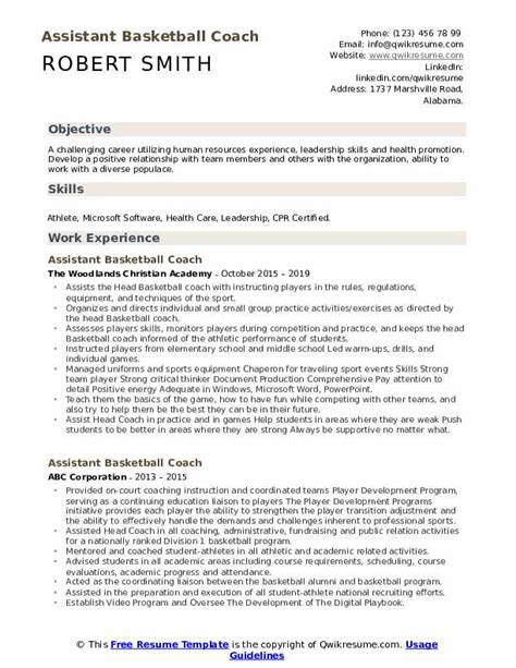 assistant basketball coach resume samples qwikresume