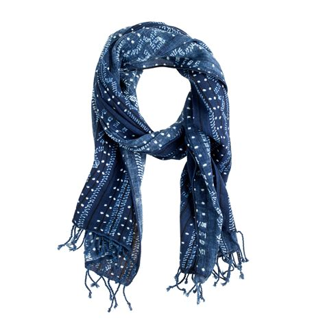 jcrew indigo batik cotton scarf  blue  men lyst