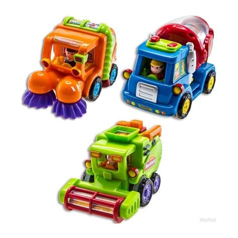 toys for boys wolvol push and go friction powered car toys for boys set of 3
