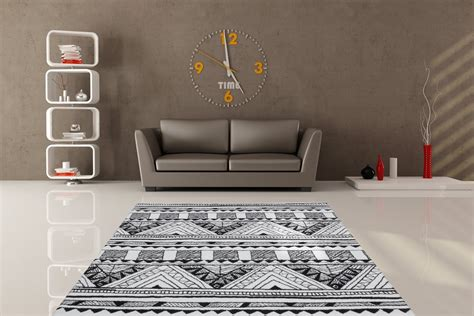 tapis 224 motifs moderne pour salon noir et blanc toluca