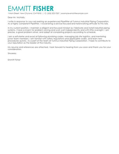 best pipefitter cover letter exles livecareer