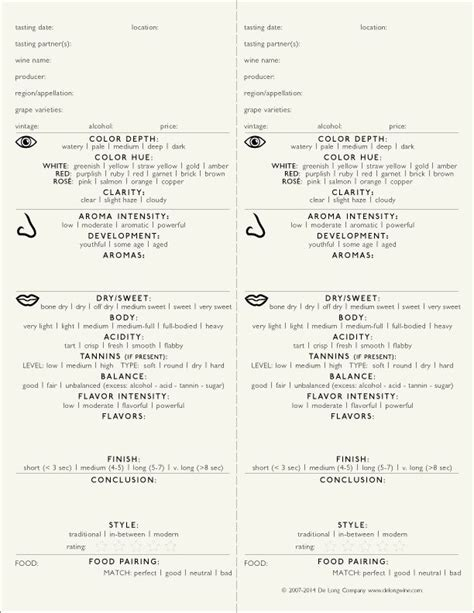 wine tasting note forms from de long wine beer cheese