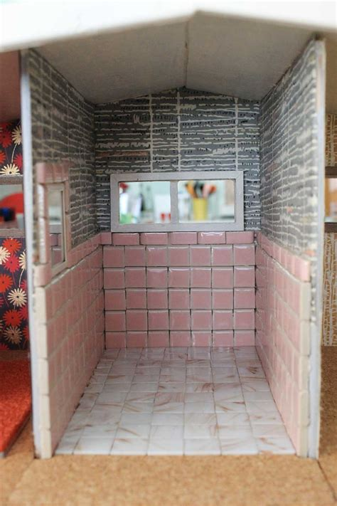 vintage pink bathroom   dollhouse including