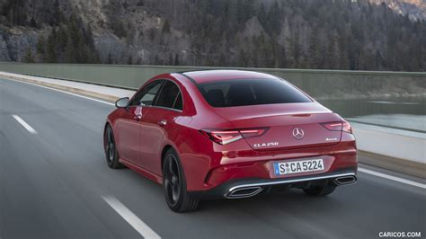 Its exterior conveys pure driving pleasure even when stationary. 2020 Mercedes-Benz CLA 250 4MATIC Coupe AMG Line (Color: Jupiter Red) - Rear Three-Quarter | HD ...