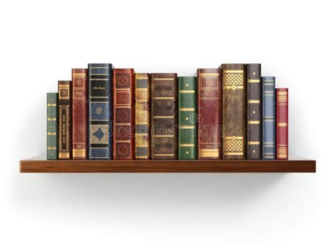 on the shelf book vintage books on shelf isolated on white stock