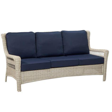 hton bay park white wicker outdoor sofa with