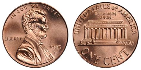 2005 D Lincoln Memorial Cent Copper Plated Zinc Penny