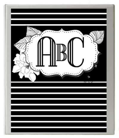monogram binder cover customize  instant