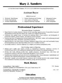 fashion assistant buyer resume resume sle for assistant buyer smart money decisions resume exles and resume