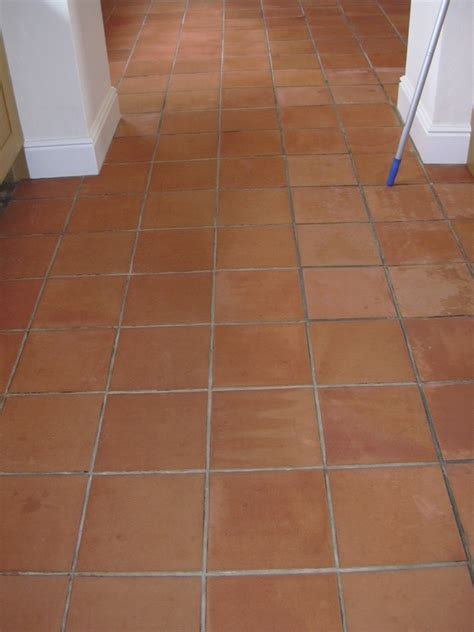 Terracotta floor in Prestbury, Cheshire, cleaned, sealed