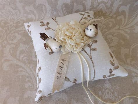 woodland birds wedding ring bearer pillow white love