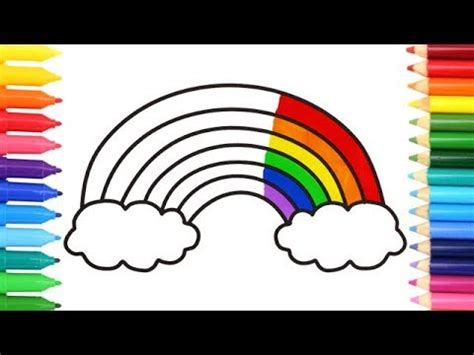 draw  simple rainbow  kids coloring pages