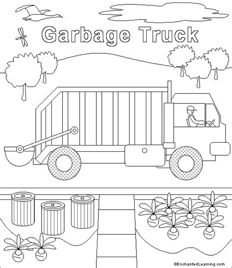 garbage truck coloring page garbage truck coloring page enchantedlearning