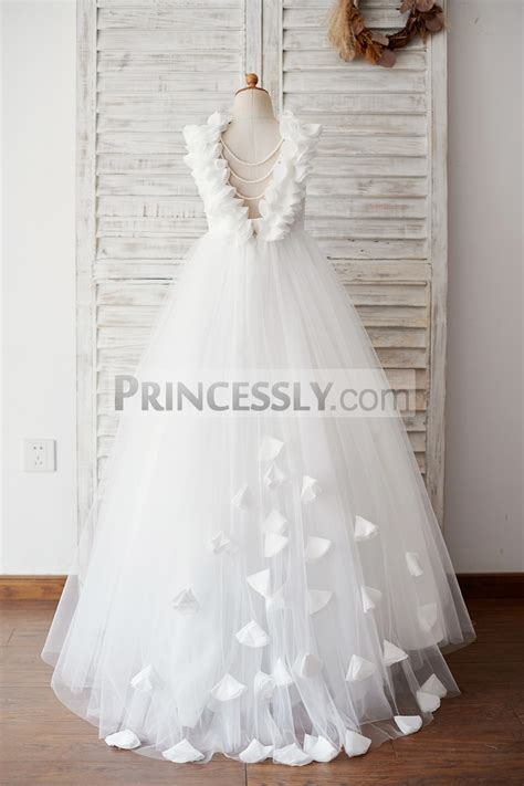 backless lace tulle wedding flower girl dress  pearls