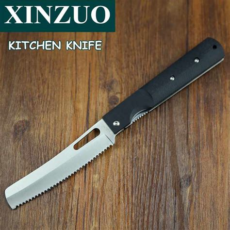 folding kitchen knives xinzuo 440a pocket folding kitchen chef knife serrated toast bread cake g10 table knife steel