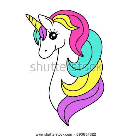 pink unicorn head rainbow mane horn stock vector
