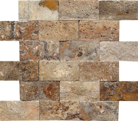 scabos travertine split face 2x4 mosaic tile