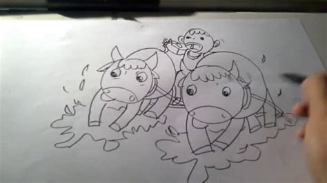 video tutorial drawing for kids karapan sapi festival on