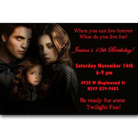 twilight breaking dawn birthday party invitations ideas