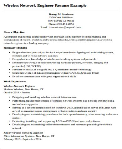 sle network engineer resume 9 exles in word pdf
