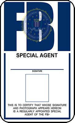 fbi id template fbi identification card  files prop ebay