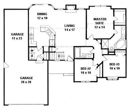 plan   bedroom ranch wtandem  car garage
