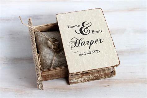 rustic wedding box personalized ring bearer box pillow еngagement ring box book box jewelry