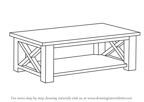 Learn How To Draw A Coffee Table (furniture) Step By Step
