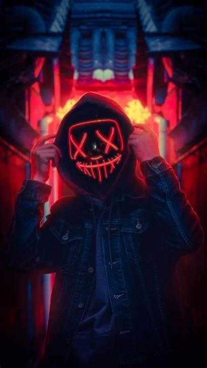Iphone Mask Lightup Wallpapers Neon Joker Iphoneswallpapers