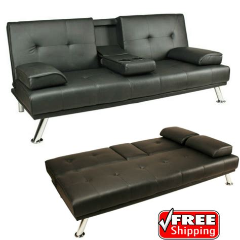 Loveseat Sofa Bed Leather by Sofa Bed Black Faux Leather Click Clack Settee 2 3