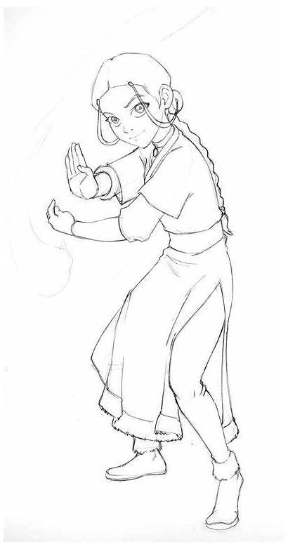 Avatar Deviantart Katara Airbender Last Sketches Coloring