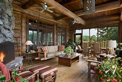 Porch Screened Cabin Plans Rustic Lake Homes