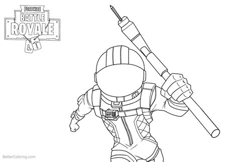 Fortnite Coloring Pages Characters Line Drawing Black And
